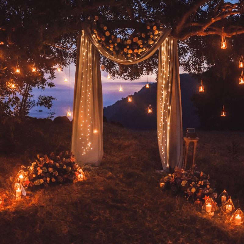 Bruiloft styling lampion